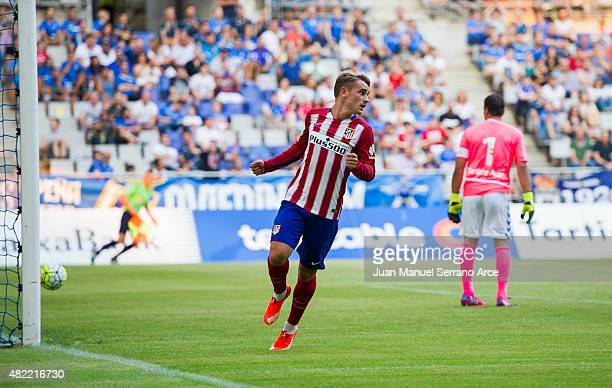 Antoine Griezmann ofÊClub Atletico de Madrid celebrates after scoring goal during a pre season friendly match between Real Oviedo and Club Atletico...