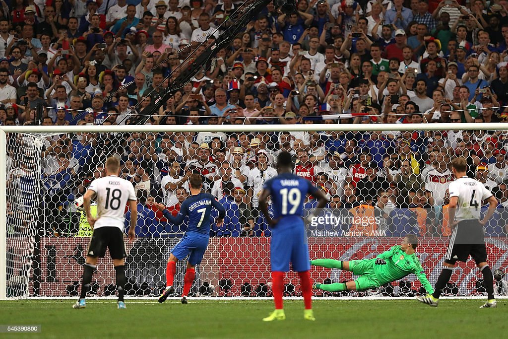 Antoine Griezmann scores a penalty to make the score 01 during the UEFA Euro 2016 Semi Final match between Germany and France at Stade Velodrome on...