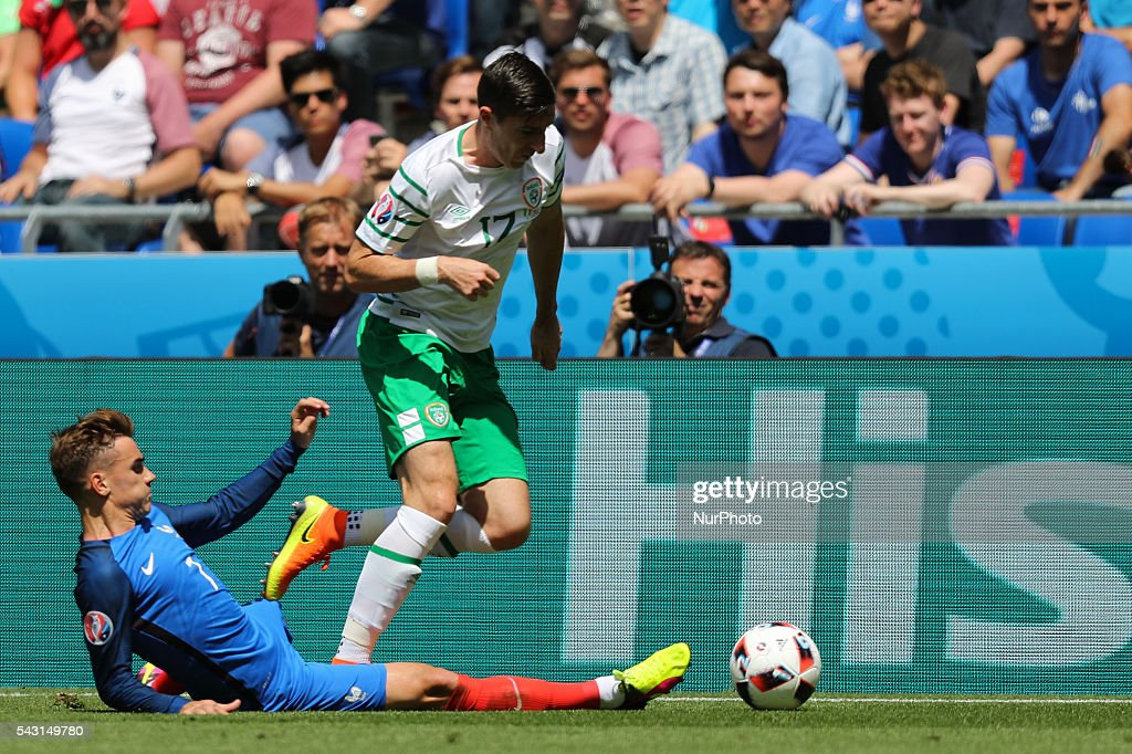 Antoine Griezmann (FRA), Stephen Ward (IRL), during the UEFA EURO 2016 round of 16 match between France and Republic of Ireland at Stade des Lumieres on June 26, 2016 in Lyon, France.