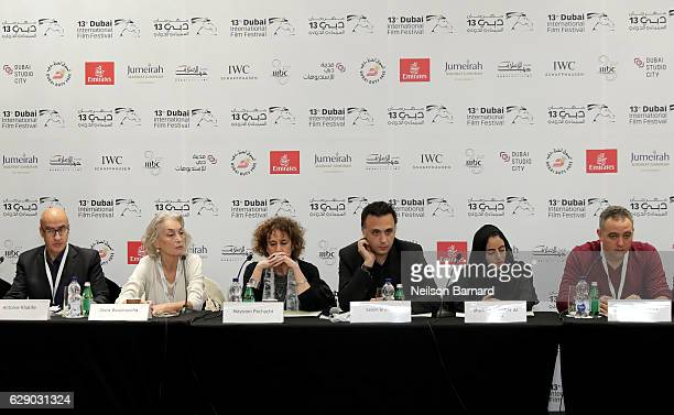 Antoine Khalife Dora Bouchoucha Maysoon Pachachi Salem Brahimi Sheikha Jawaher Al Qasimi and Mohamed Hefzy attend the Arab Film Institute press...