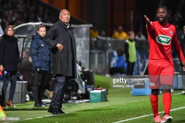 Antoine Kombouare coach of Guingamp and Yannis Salibur of Guingamp looks dejected during the Semi final of the French Cup match between Angers and...