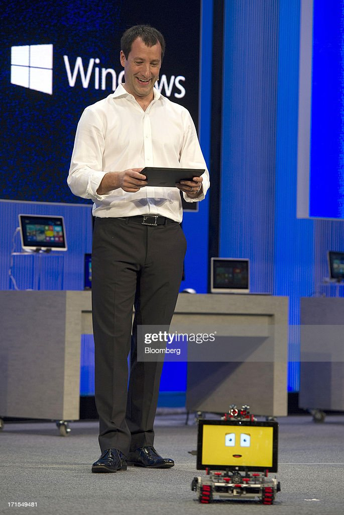 Antoine Leblond, corporate vice president of Windows program management for Microsoft Corp., speaks during the Microsoft Corp. Build Developers Conference in San Francisco, California, U.S., on Wednesday, June 26, 2013. Facebook Inc. is building an application for Microsoft Corp.'s Windows 8, adding one of the most popular programs still missing from the operating system designed to help Microsoft gain tablet customers. Photographer: David Paul Morris/Bloomberg via Getty Images