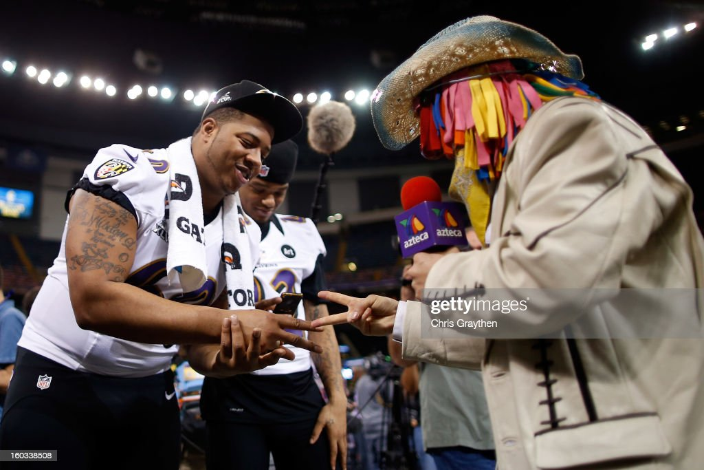 Antoine McClain #60 of the Baltimore Ravens plays rock, paper, scissors during Super Bowl XLVII Media Day ahead of Super Bowl XLVII at the Mercedes-Benz Superdome on January 29, 2013 in New Orleans, Louisiana. The San Francisco 49ers will take on the Baltimore Ravens on February 3, 2013 at the Mercedes-Benz Superdome.