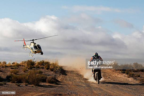 Antoine Meo of France riding on and for KTM 450 RALLY REPLICA RED BULL KTM FACTORY TEAM followed by the TV helicopter as he competes on day 5 from...