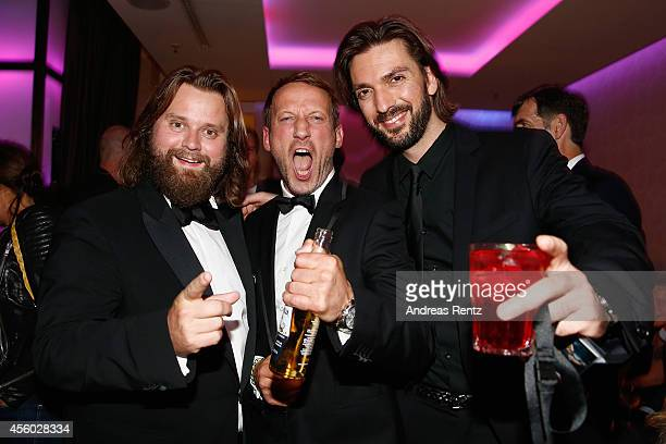 Antoine Monot Jr Wotan Wilke Moehring and Max Wiedemann attend the 'Who am I' after premiere party at Club Felix on September 23 2014 in Berlin...