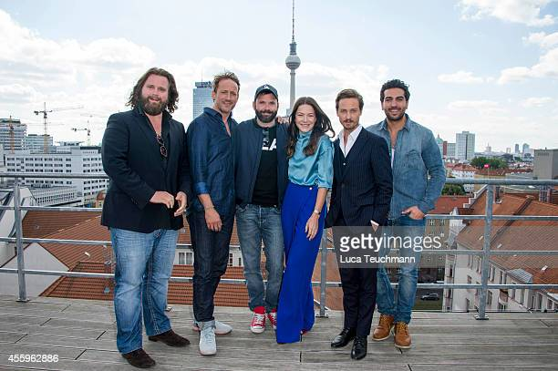 Antoine Monot Wotan Wilke Moehring Baran bo Odar Hannah Herzsprung Tom Schilling and Elyas M'Barek attend a photocall for the film 'Who am I' on...
