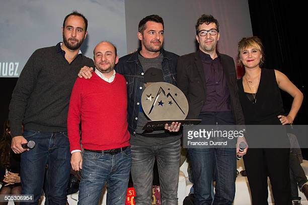 Antoine Pezet French actors Jerome Corcos Arnaud Ducret Francois Desagnat and Berengere Krief pose with the 'Special Jury' prize for their movie...