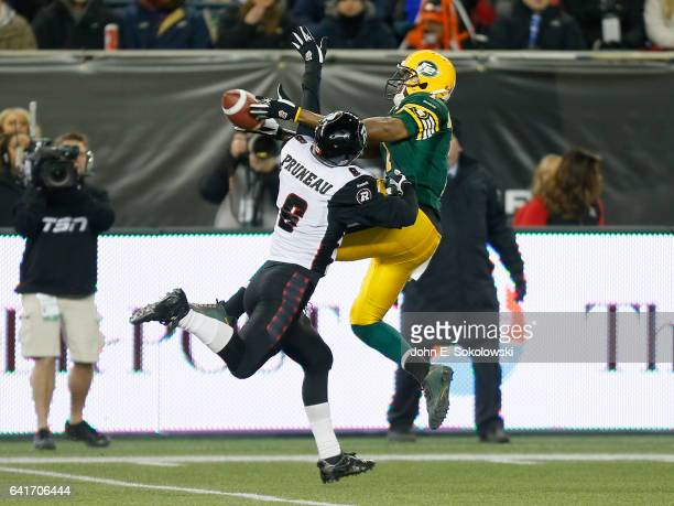 Antoine Pruneau of the Ottawa REDBLACKS interferes on a pass to Kenny Stafford of the Edmonton Eskimos during the CFL 103rd Grey Cup Game at...