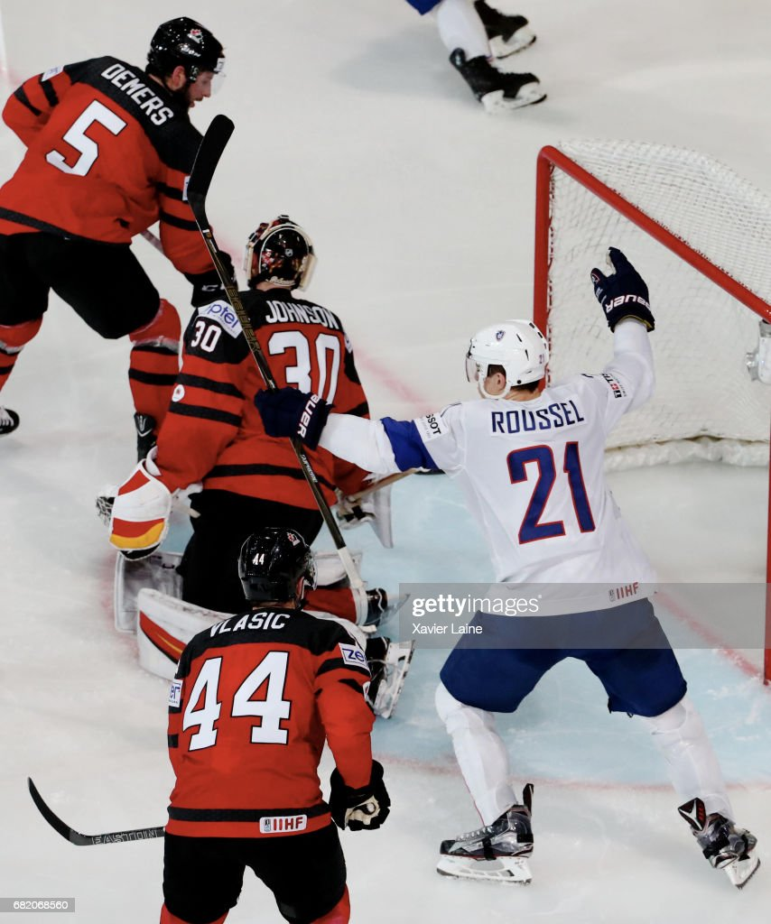 Antoine Roussel of France celebrate a goal of Damien Fleury during the 2017 IIHF Ice Hockey World Championship game between Canada and France at AccorHotels Arena on May 11, 2017 in Paris, France.