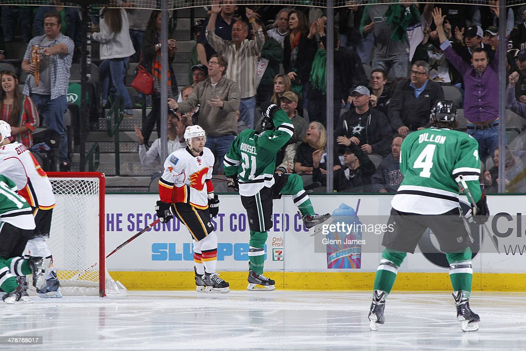 <a gi-track='captionPersonalityLinkClicked' href=/galleries/search?phrase=Antoine+Roussel&family=editorial&specificpeople=4202700 ng-click='$event.stopPropagation()'>Antoine Roussel</a> #21 of the Dallas Stars celebrates a goal against the Calgary Flames at the American Airlines Center on March 14, 2014 in Dallas, Texas.