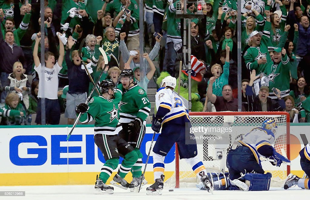 Antoine Roussel of the Dallas Stars celebrates with Radek Faksa of the Dallas Stars after scoring a goal against Brian Elliott of the St Louis Blues...