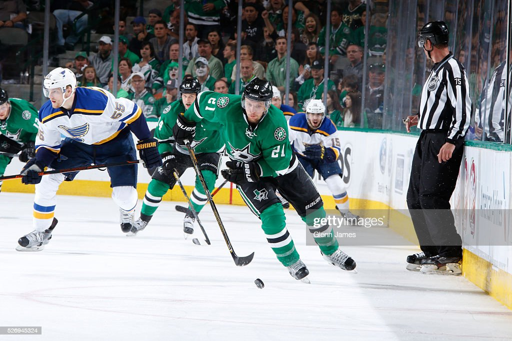 Antoine Roussel #21 of the Dallas Stars handles the puck against the St. Louis Blues in Game Two of the Western Conference Second Round during the 2016 NHL Stanley Cup Playoffs at the American Airlines Center on May 1, 2016 in Dallas, Texas.