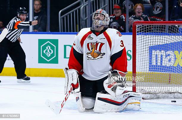 Antoine Samuel reacts after conceding a goal against the Quebec Remparts during their QMJHL hockey game at the Centre Videotron on October 14 2016 in...