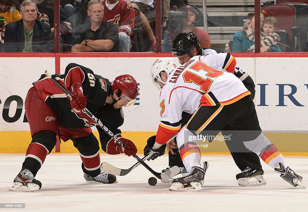 Antoine Vermete #50 of the Phoenix Coyotes and <a gi-track='captionPersonalityLinkClicked' href=/galleries/search?phrase=Mike+Cammalleri&family=editorial&specificpeople=634009 ng-click='$event.stopPropagation()'>Mike Cammalleri</a> #13 of the Calgary Flames battle for a face off during the third second period at Jobing.com Arena on October 22, 2013 in Glendale, Arizona.