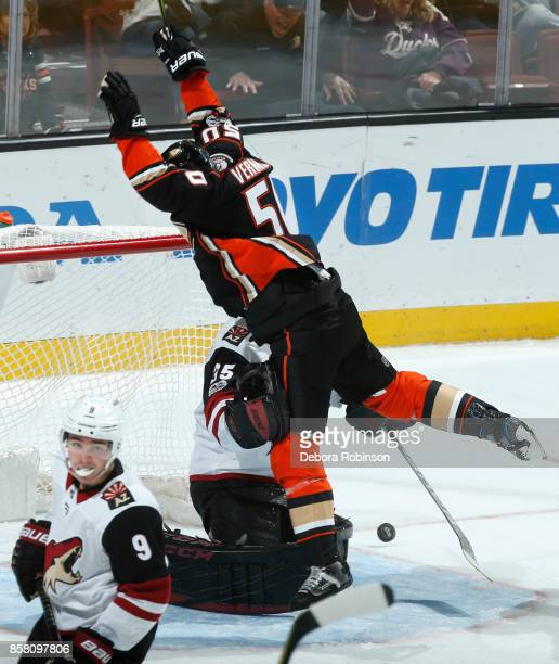 Antoine Vermette of the Anaheim Ducks celebrates a goal in the second period against Louis Domingue and Clayton Keller of the Arizona Coyotes during...