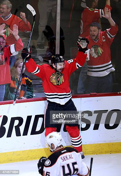 Antoine Vermette of the Chicago Blackhawks celebrates after scoring the game winning goal in the second overtime period to defeat the Anaheim Ducks...