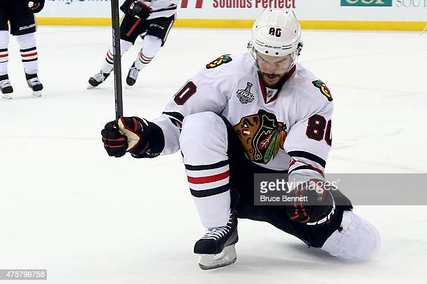 Antoine Vermette of the Chicago Blackhawks celebrates his third period goal against the Tampa Bay Lightning during Game One of the 2015 NHL Stanley...