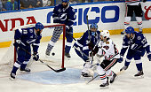 Antoine Vermette of the Chicago Blackhawks scores a goal in the third period past Ben Bishop of the Tampa Bay Lightning during Game Five of the 2015...