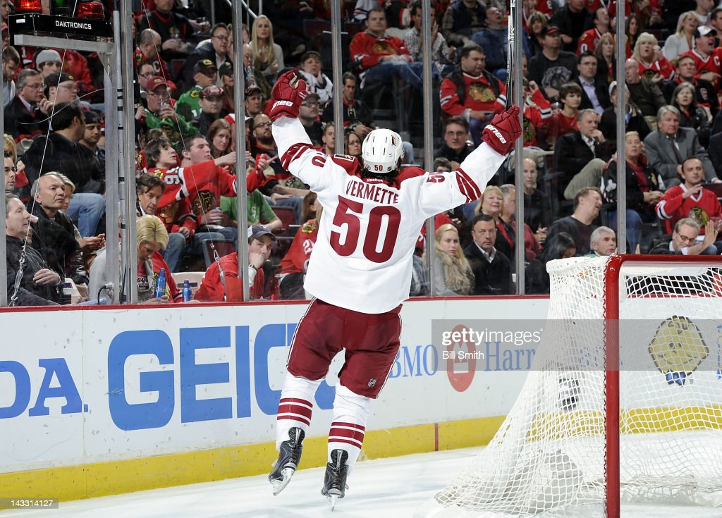 Antoine Vermette #50 of the Phoenix Coyotes reacts after scoring against the Chicago Blackhawks during Game Six of the Western Conference Quarterfinals during the 2012 NHL Stanley Cup Playoffs at the United Center on April 23, 2012 in Chicago, Illinois.