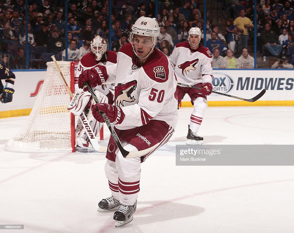 <a gi-track='captionPersonalityLinkClicked' href=/galleries/search?phrase=Antoine+Vermette&family=editorial&specificpeople=206302 ng-click='$event.stopPropagation()'>Antoine Vermette</a> #50 of the Phoenix Coyotes skates against the St. Louis Blues in an NHL game on April 18, 2013 at Scottrade Center in St. Louis, Missouri.