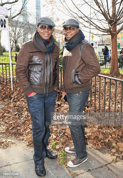 Antoine Von Boozier and Andre Von Boozier attend the Help Santa Stuff a Buss Full of Toys event at the Cannon Ball Park on December 10 2011 in New...