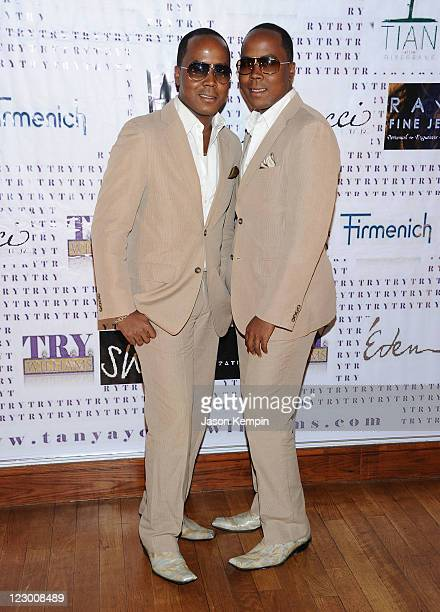 Antoine Von Boozier and Andre Von Boozier attend the VH1 'Basketball Wives' premiere party at Tian at the Riverbank on August 29 2011 in New York City