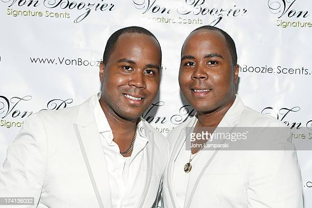 Antoine Von Boozier and Andre Von Boozier attend The Von Boozier 'Candles For A Cause' One Year Anniversary Event at Taj II on July 20 2013 in New...