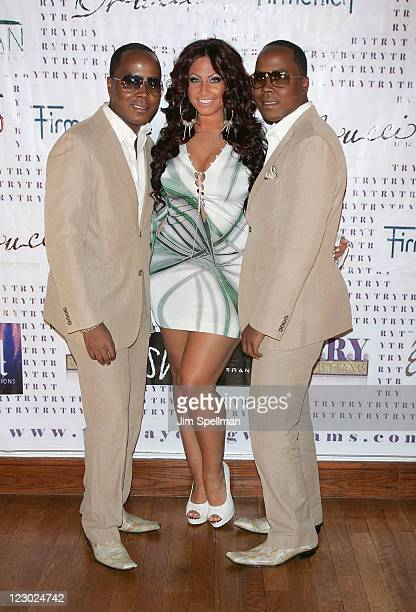 Antoine Von Boozier Tracy DiMarco and Andre Von Boozier attend the VH1 'Basketball Wives' premiere party at Tian at the Riverbank on August 29 2011...