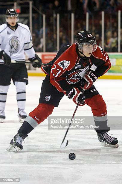 Antoine Waked of the the Rouyn Noranda Huskies skates with the puck against the Gatineau Olympiques during the QMJHL game on March 15 2014 at Robert...