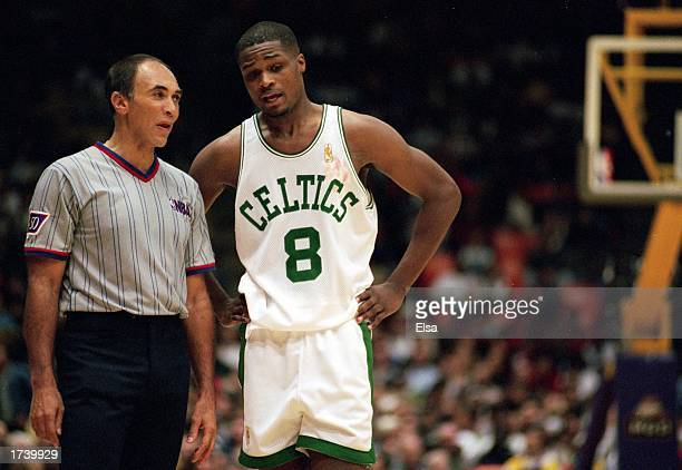 Antoine Walker of the Boston Celtics talks to the referee during a game against the Los Angeles Lakers at the Great Western Forum on December 27 1996...