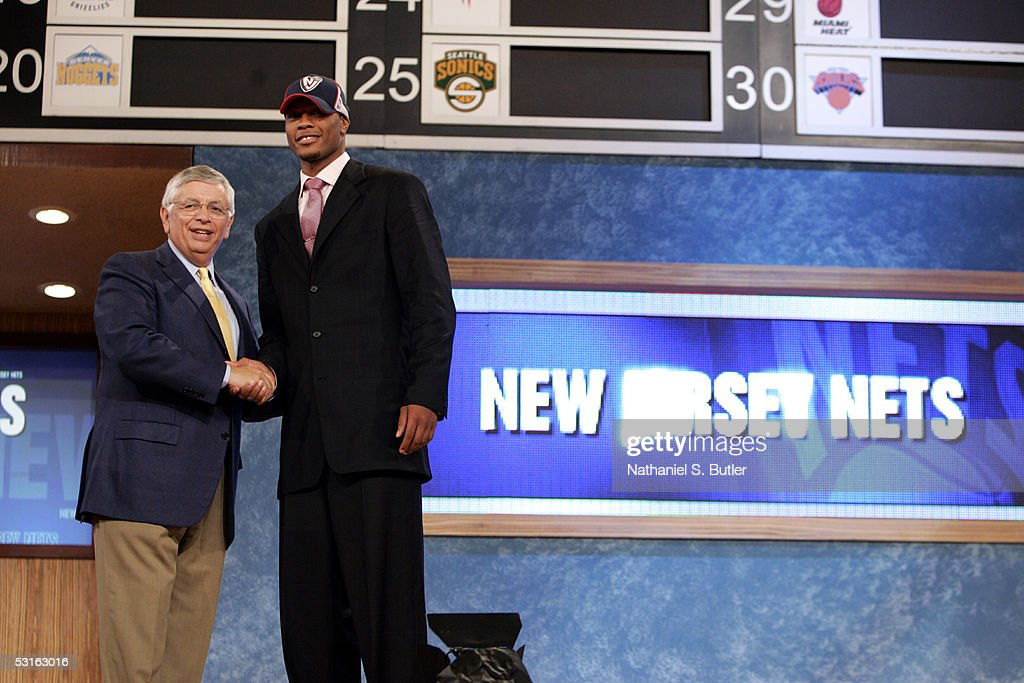 Antoine Wright shakes hands with NBA Commissioner David Stern after being chosen number fifteen by the New Jersey Nets during the 2005 NBA Draft on June 28, 2005 at The Theater at Madison Sqaure Garden in New York City.