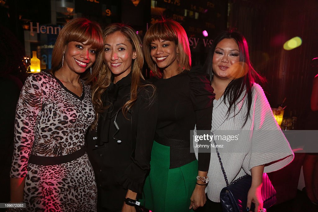 Antoinette Clarke, Jennifer Yu, Tricia Clarke-Stone, and guest attend Hennessy vs Introduces Nas As Newest Partner at R Lounge at the Renaissance New York Times Square Hotel on January 15, 2013 in New York City.