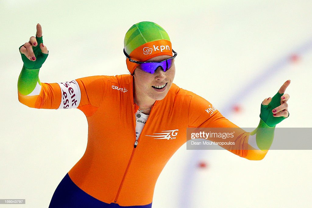 Antoinette de Jong of Netherlands celebrates after the 500m Ladies race during the Essent ISU European Speed Skating Championships 2013 at Thialf Stadium on January 12, 2013 in Heerenveen, Netherlands.