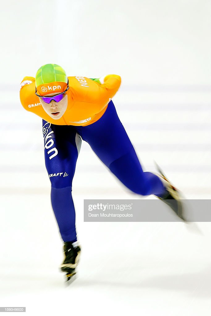 Antoinette de Jong of Netherlands competes in the 3000m Ladies race during the Essent ISU European Speed Skating Championships 2013 at Thialf Stadium on January 12, 2013 in Heerenveen, Netherlands.