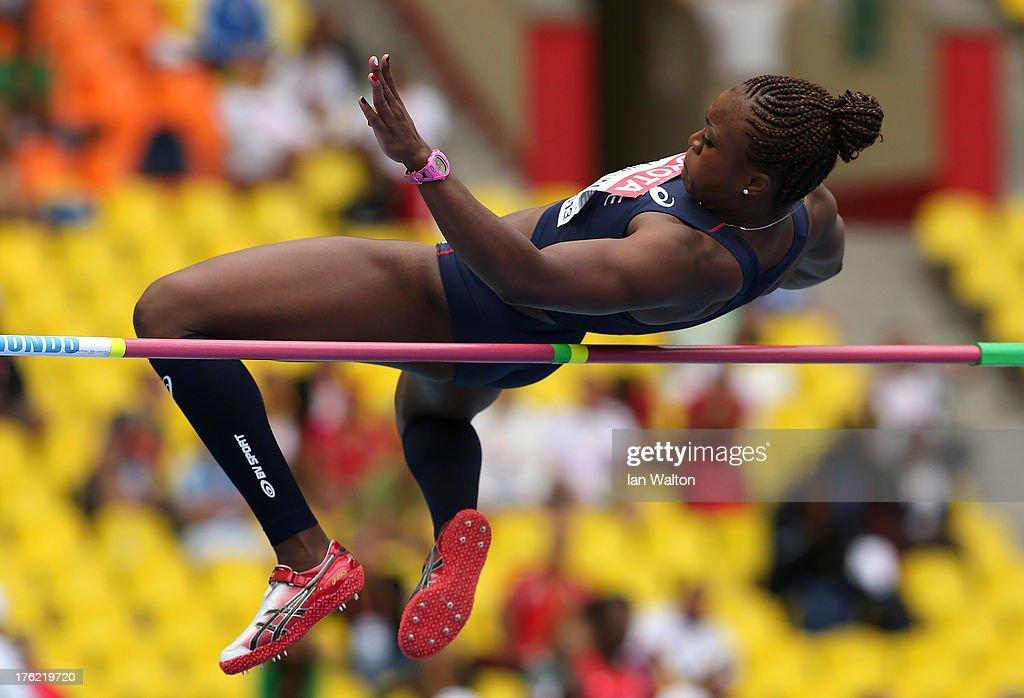 Antoinette Nana Djimou Ida of France competes in the Women's Heptathlon High Jump during Day Three of the 14th IAAF World Athletics Championships Moscow 2013 at Luzhniki Stadium on August 12, 2013 in Moscow, Russia.