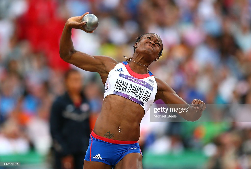 Antoinette Nana Djimou Ida of France competes in the Women's Heptathlon Shot Put on Day 7 of the London 2012 Olympic Games at Olympic Stadium on August 3, 2012 in London, England.