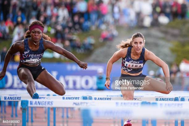 Antoinette Nana Djimou of France and Laura Valette of France competes in 100m Hurdles during the DecaNation 2017 on September 9 2017 in Angers France