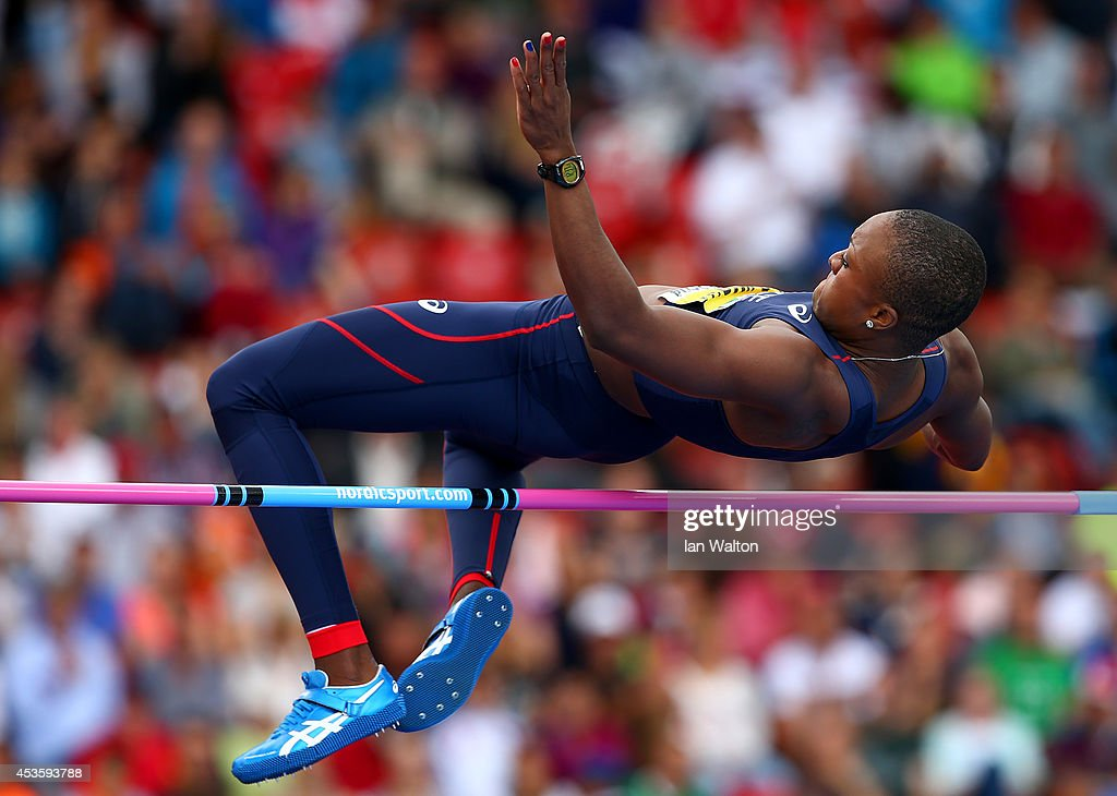 Antoinette Nana Djimou of France competes in the Women's Heptathlon High Jump during day three of the 22nd European Athletics Championships at Stadium Letzigrund on August 14, 2014 in Zurich, Switzerland.