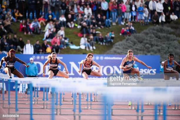 Antoinette Nana Djimou of France Laura Valette of France Ayako Kimura of Japan Anna Plotitsyna of Ukraine and Krisi Castlin of USA competes in 100m...