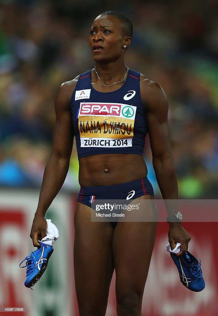 Antoinette Nana Djimou of France looks on after competing in the Women's Heptathlon 200 metres during day three of the 22nd European Athletics Championships at Stadium Letzigrund on August 14, 2014 in Zurich, Switzerland.