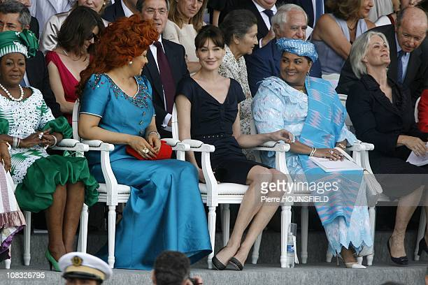 Antoinette Sassou Nguesso Chantal Biya Carla Sarkozy Chantal Compaore Penelope Fillon in Paris France on July 14th 2010