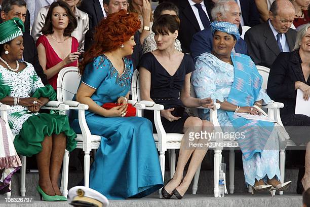 Antoinette Sassou Nguesso Chantal Biya Carla Sarkozy Chantal Compaore in Paris France on July 14th 2010