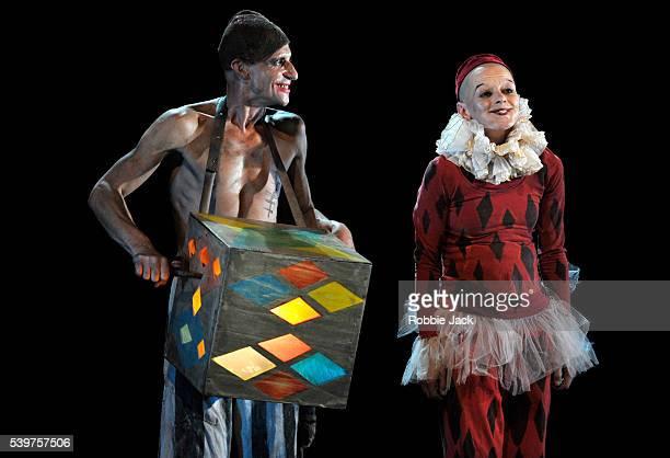 Anton Adasinsky as Harlekin and Elena Yarovaya as Monkey in Derevo's production 'Harlekin' at the Pleasance as part of the Edinburgh Festival Fringe