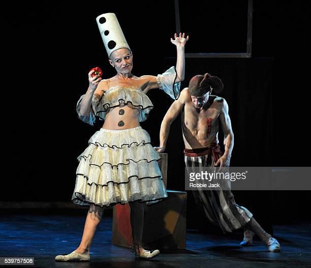 Anton Adasinsky as Harlekin and Elena Yarovaya as Pierretta in Derevo's production 'Harlekin' at the Pleasance as part of the Edinburgh Festival...