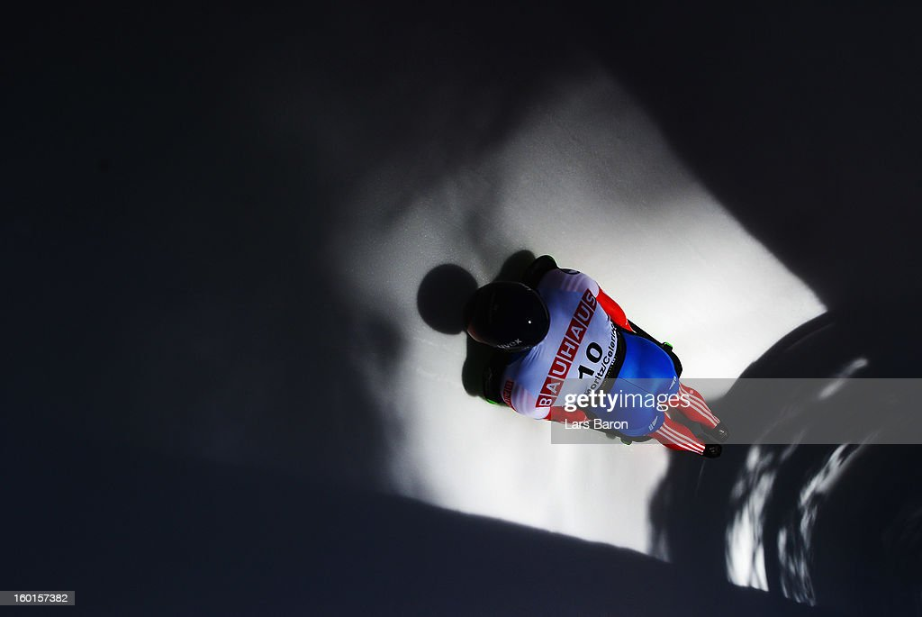 Anton Batuev of Russia competes during the team competition of the IBSF Bob & Skeleton World Championship at Olympia Bob Run on January 27, 2013 in St Moritz, Switzerland.