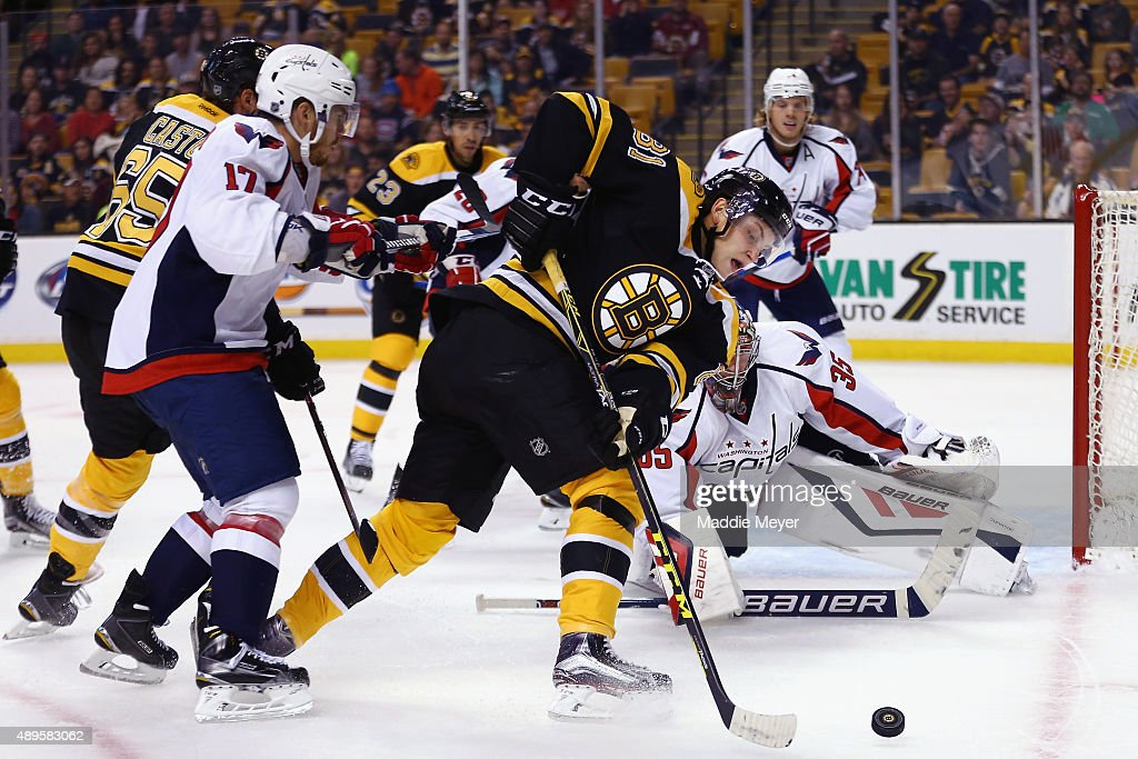 Anton Blidh #81 of the Boston Bruins looks for a shot on goal against the Washington Capitals during the first period at TD Garden on September 22, 2015 in Boston, Massachusetts.