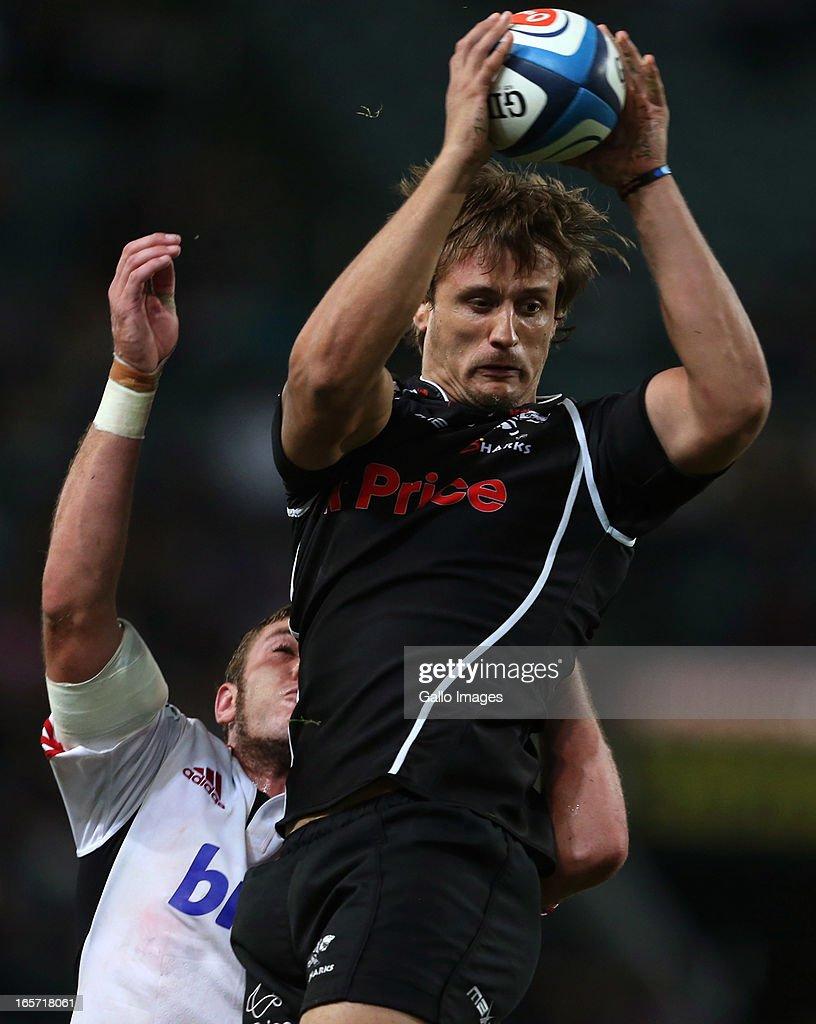 Anton Bresler of Sharks in action during the Super Rugby round eight match between the Sharks and Crusaders from Kings Park on April 05, 2013 in Durban, South Africa.