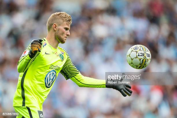 Anton Cajtoft goalkeeper of Jonkopings Sodra during the Allsvenskan match between Malmo FF and Jonkopings Sodra IF at Swedbank Stadion on July 22...