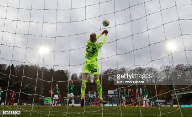 Anton Cajtoft goalkeeper of Jonkopings Sodra makes a save during the Allsvenskan match between Jonkopings Sodra IF and Ostersunds FK at...