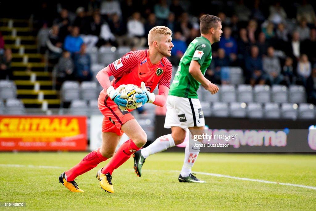 Anton Cajtoft of Jonkopings Sodra saving the ball during the allsvenskan match between Jonkopings Sodra and BK Hacken at Stadsparksvallen on July 17, 2017 in Jonkoping, Sweden.